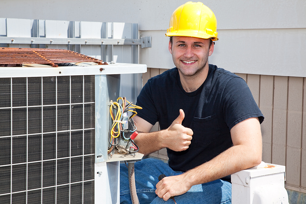 Air Conditioning Technician Giving Thumbs Up
